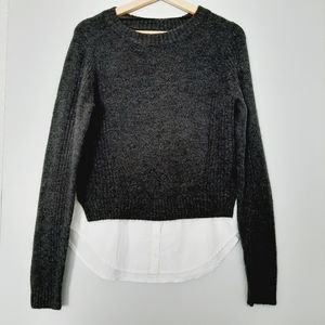 NOISY MAY Gray Sweater Crew Neck Top with Fooler White Button Down Shirt Sz. S